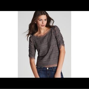 NWT Joie Fanny Lace Top in Storm Grey, Large